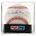Autographs:Baseballs, Johnny Vander Meer Single Signed Baseball With Inscriptions, PSANM-MT+ 8.5. ...
