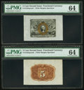 Fractional Currency:Second Issue, Fr. 1232SP 5¢ Second Issue Wide Margin Pair PMG Choice Uncirculated 64.. ... (Total: 2 notes)