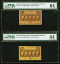 Fractional Currency:First Issue, Fr. 1281 25¢ First Issue PMG Choice Uncirculated 64. Two Examples.. ... (Total: 2 notes)