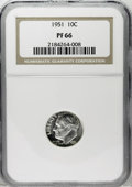 Proof Roosevelt Dimes: , 1951 10C PR66 NGC. NGC Census: (141/369). PCGS Population(493/318). Mintage: 57,500. Numismedia Wsl. Price: $42. (#5226)...