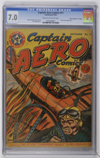 "Captain Aero Comics #11 Davis Crippen (""D"" Copy) pedigree (Holyoke Publications, 1943) CGC FN/VF 7.0 Cream to..."