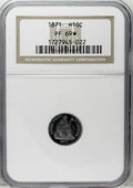 Proof Seated Half Dimes: , 1871 H10C PR69 ★ NGC. V-1. Open topped D in UNITED. The 1871 halfdime came with a mintage of...