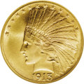 Indian Eagles: , 1913 $10 MS66 NGC. The generous mintage of nearly a half-millionpieces is hardly indicative of this issue's rarity in Prem...