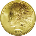 Indian Eagles: , 1915 $10 MS67 NGC. This is one of the plentiful dates in theseries, from a mintage of 351,000 coins, and yet it is virtual...