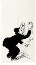 Original Comic Art:Illustrations, Rube Goldberg - Man Peeping Illustration Original Art (undated).Pen and ink sketch of a man peeping through a keyhole by Ru...(Total: 2 Items)