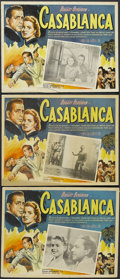 "Movie Posters:Drama, Casablanca (Warner Brothers, R-1950s). Mexican Lobby Cards (3) (12.25"" X 16""). Romantic Drama. Starring Humphrey Bogart, Ing... (Total: 3 Items)"