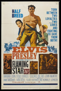 "Flaming Star (20th Century Fox, 1960). One Sheet (27"" X 41""). Western. Starring Elvis Presley, Barbara Eden, S..."