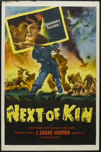 "The Next of Kin (Universal, 1942). One Sheet (27"" X 41""). War. Starring Nova Pilbeam, J. Edgar Hoover, Basil S..."