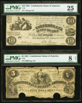 Confederate Notes:Group Lots, T28 $10 1861 PF-1 Cr. 230;. T36 $5 1861 PF-4 Cr. 278.. ... (Total:2 notes)