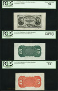 Fractional Currency:Third Issue, Fr. 1272SP 15¢ Third Issue Wide Margin Specimen Set PCGS Graded. . ... (Total: 3 notes)