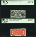 Fractional Currency:Third Issue, Fr. 1274SP 15¢ Third Issue Narrow Margin Pair PCGS Very Choice New 64PPQ.. ... (Total: 2 notes)