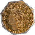California Fractional Gold , 1875 25C Indian Octagonal 25 Cents, BG-797, Low R.4, MS65 PCGS.PCGS Population: (19/3). NGC Census: (2/0). . From The...