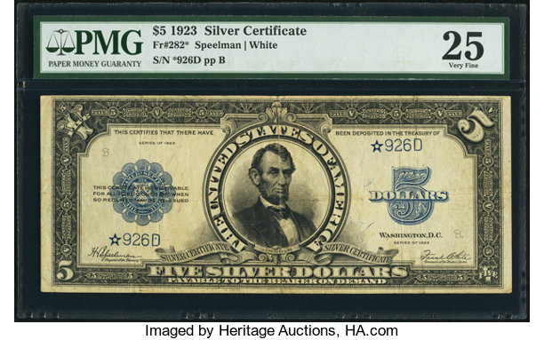 Fr. 282* $5 1923 Silver Certificate PMG Very Fine 25.. ... Large ...