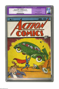 Golden Age (1938-1955):Superhero, Action Comics #1 (DC, 1938) CGC VF- 7.5 Moderate (P) Off-white to white pages. Your eyes do not deceive you -- this is a gor...