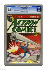 Action Comics #19 (DC, 1939) CGC FN+ 6.5 Off-white to white pages. This 19th appearance of Superman in Action also marke...