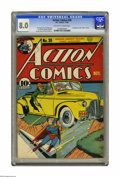Golden Age (1938-1955):Superhero, Action Comics #30 (DC, 1940) CGC VF 8.0 Off-white to white pages. This great cover featuring the Man of Steel picking up yet...