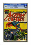 Golden Age (1938-1955):Superhero, Action Comics #44 (DC, 1942) CGC VF 8.0 Off-white pages. This issue's great World War II cover is by Fred Ray. Interior art ...