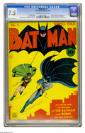 Golden Age (1938-1955):Superhero, Batman #1 (DC, 1940) CGC VF- 7.5 Cream to off-white pages. The first appearances of the Joker and Catwoman are two big r...