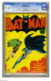 Batman #1 (DC, 1940) CGC VF- 7.5 Cream to off-white pages. The first appearances of the Joker and Catwoman are two big r...