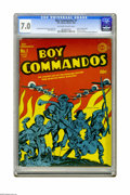 "Golden Age (1938-1955):War, Boy Commandos #1 (DC, 1942) CGC FN/VF 7.0 Off-white to white pages. It may not have been exactly ""torn from the headlines,"" ..."