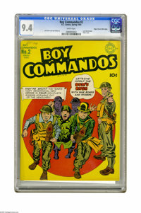 Boy Commandos #2 Mile High pedigree (DC, 1943) CGC NM 9.4 White pages. The boys are giving ol' Adolf the bum's rush on t...