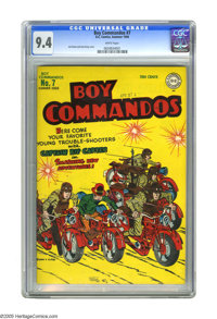 Boy Commandos #7 (DC, 1944) CGC NM 9.4 White pages. Here's a gorgeous copy that's never been offered at auction before...