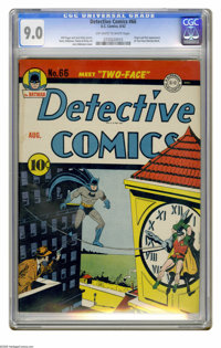 Detective Comics #66 (DC, 1942) CGC VF/NM 9.0 Off-white to white pages. Here's the highest-graded copy yet certified of...