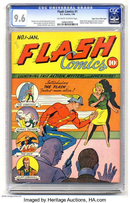 Flash Comics #1 Mile High pedigree (DC, 1940) CGC NM+ 9.6 Off-white to white pages. One of the most important comic books of...