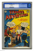 Golden Age (1938-1955):Science Fiction, Strange Adventures #15 (DC, 1951) CGC NM 9.4 Off-white to whitepages. Hurry, hurry! See the incredible two-headed man and t...