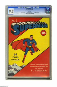 Superman #2 (DC, 1939) CGC NM- 9.2 White pages. The condition of this copy is a real eye-opener! It's got the kind of co...