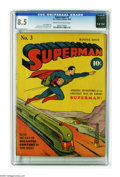 Golden Age (1938-1955):Superhero, Superman #3 (DC, 1940) CGC VF+ 8.5 Cream to off-white pages. From the days before the familiar DC logo adorned the cover, co...