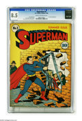 Golden Age (1938-1955):Superhero, Superman #5 (DC, 1940) CGC VF+ 8.5 Cream to off-white pages. This early issue is notable for its odd Superman logo, whic...