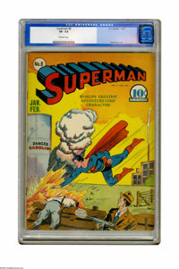 Superman #8 (DC, 1941) CGC VF- 7.5 Off-white pages. A Fred Ray cover graces this early issue. The interior stories have...