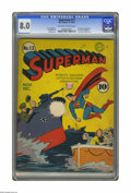Golden Age (1938-1955):Superhero, Superman #13 (DC, 1941) CGC VF 8.0 Off-white pages. Fred Ray provided this stirring World War II cover, for a comic that hit...