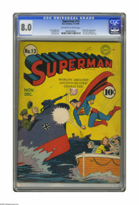 Superman #13 (DC, 1941) CGC VF 8.0 Off-white pages. Fred Ray provided this stirring World War II cover, for a comic that...