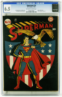 Superman #14 (DC, 1942) CGC FN+ 6.5 Off-white to white pages. This patriotic shield cover by Fred Ray is simply... well...