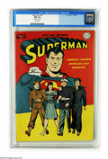 Golden Age (1938-1955):Superhero, Superman #29 (DC, 1944) CGC NM 9.4 White pages. Wayne Boring's cover depicting U.S. Servicemen echoes the fact that many men...