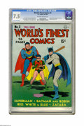 Golden Age (1938-1955):Superhero, World's Finest Comics #3 (DC, 1941) CGC VF- 7.5 Off-white to white pages. Batman gets ready to pop one out of the park on th...