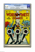 """Golden Age (1938-1955):Superhero, World's Finest Comics #7 (DC, 1942) CGC FN+ 6.5 Off-white to white pages. Here are DC's """"big guns"""" -- Superman, Batman, and ..."""
