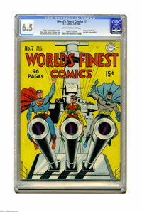 """World's Finest Comics #7 (DC, 1942) CGC FN+ 6.5 Off-white to white pages. Here are DC's """"big guns"""" -- Superman..."""