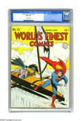 Golden Age (1938-1955):Superhero, World's Finest Comics #12 (DC, 1943) CGC VF+ 8.5 Off-white pages. You've no doubt heard of the Batmobile. Also the Batplane,...