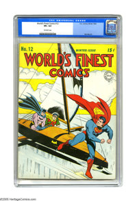 World's Finest Comics #12 (DC, 1943) CGC VF+ 8.5 Off-white pages. You've no doubt heard of the Batmobile. Also the Batpl...