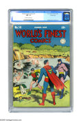 Golden Age (1938-1955):Superhero, World's Finest Comics #14 Crowley Copy pedigree (DC, 1944) CGC NM- 9.2 Off-white to white pages. It's summer time, and the b...