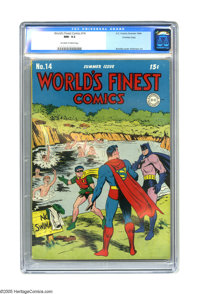 World's Finest Comics #14 Crowley Copy pedigree (DC, 1944) CGC NM- 9.2 Off-white to white pages. It's summer time, and t...