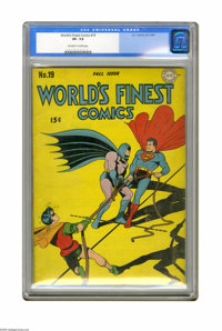 World's Finest Comics #19 (DC, 1945) CGC VF- 7.5 Off-white to white pages. This issue's cover illustration is a rare col...
