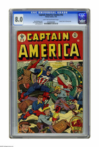 Captain America Comics #52 (Timely, 1946) CGC VF 8.0 Light tan to off-white pages. Cap and Bucky break up a raid at the...