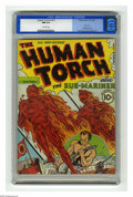 Golden Age (1938-1955):Superhero, The Human Torch #2 (#1) (Timely, 1940) CGC NM 9.4 Off-white pages.This is the finest copy yet certified of this hotly sough...