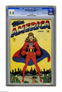 Miss America Comics #1 Mile High pedigree (Timely, 1944) CGC NM 9.4 White pages. One of the first female superheroes of...