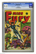 Golden Age (1938-1955):Superhero, Miss Fury #4 (Timely, 1944) CGC NM- 9.2 White pages. Tarpe Mills' tantalizing costumed heroine crashes an Axis meeting on th...