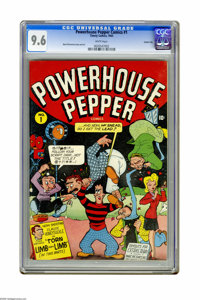 Powerhouse Pepper Comics #1 Carson City pedigree (Timely, 1943) CGC NM+ 9.6 White pages. Basil Wolverton's bizarre (and...